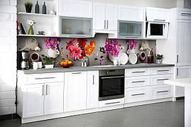 Виниловый кухонный фартук Утренние Герберы декоративная пленка наклейка скинали цветы чай Натюрморт Серый