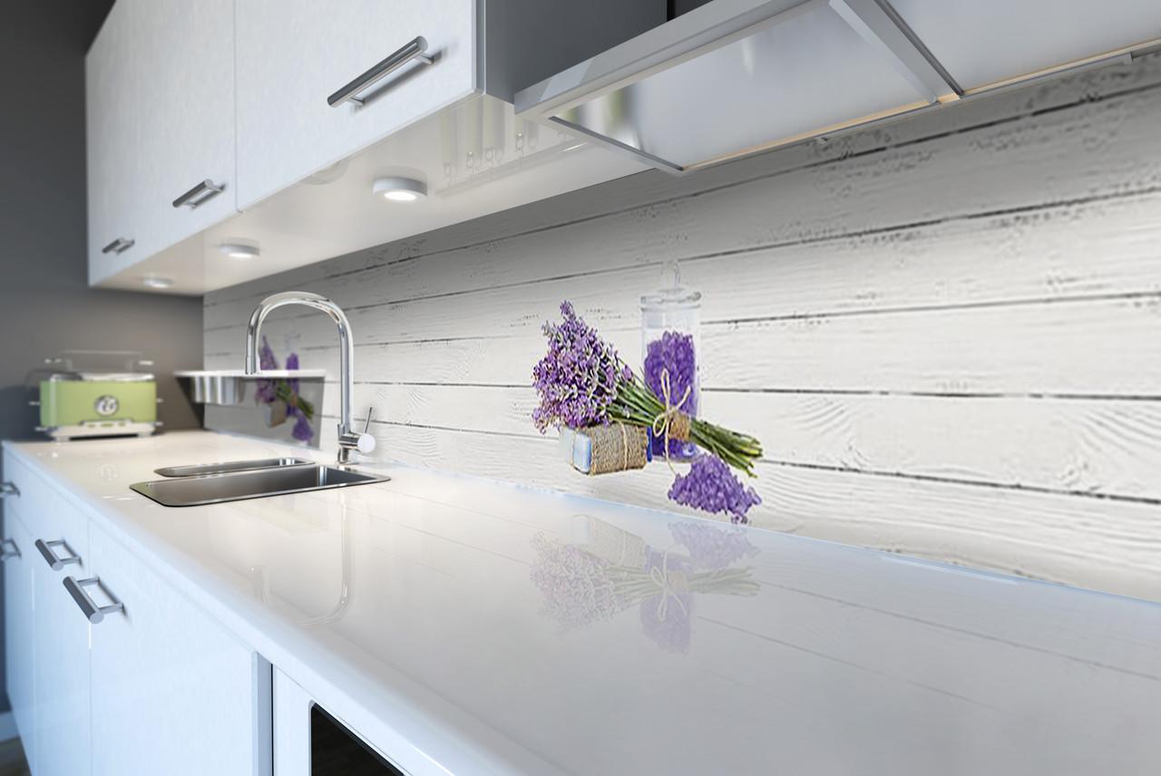 Виниловый кухонный фартук Лавандовая соль (декоративная пленка скинали ПВХ) Прованс белые доски лаванда Серый 600*2500 мм