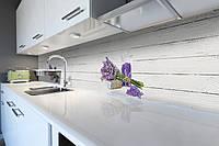 Виниловый кухонный фартук Лавандовая соль (декоративная пленка скинали ПВХ) Прованс белые доски лаванда Серый 600*2500 мм, фото 1