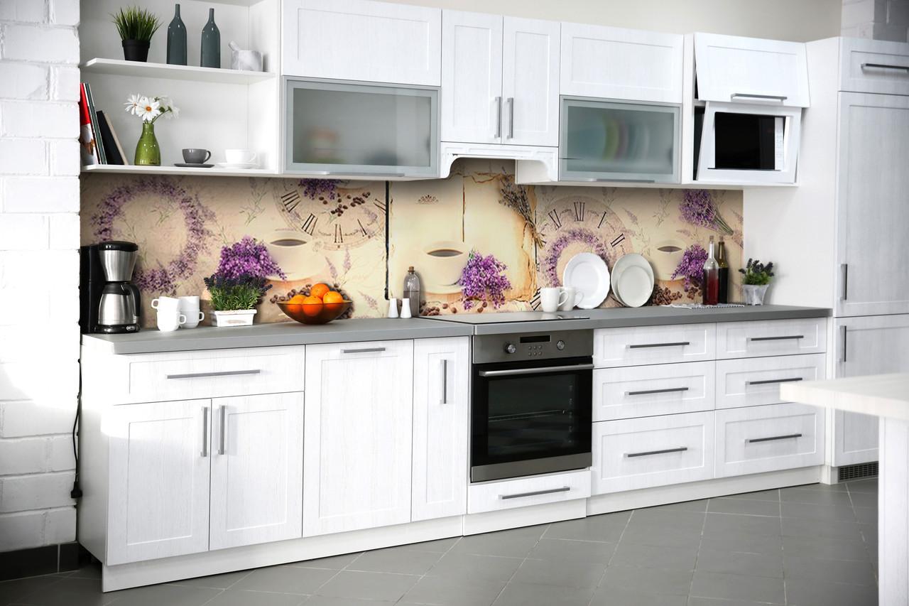 Виниловый кухонный фартук Лавандовый Кофе (декоративная наклейка скинали ПВХ) часы Фиолетовый 600*2500 мм