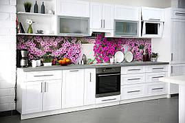 Вініловий кухонний фартух Петунії декоративна плівка наклейка скіналі ПВХ фіолетові квіти кучеряве 600*2500