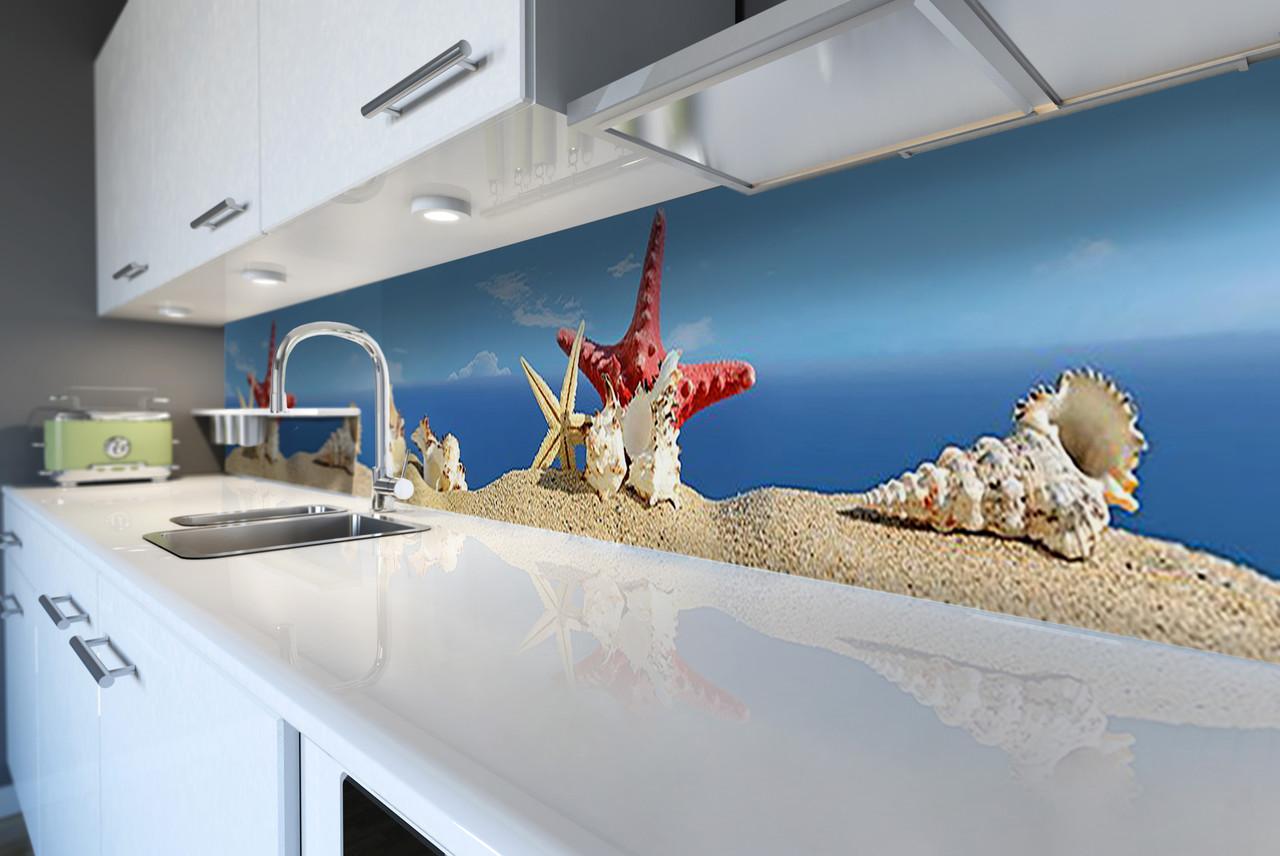 Виниловый кухонный фартук Ракушки (виниловая наклейка скинали ПВХ) пляж песок море морская звезда Синий 600*2500 мм
