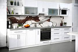 Вініловий кухонний фартух Кавові бризки декоративна плівка скіналі ПВХ рідина Абстракція кави Бежевий