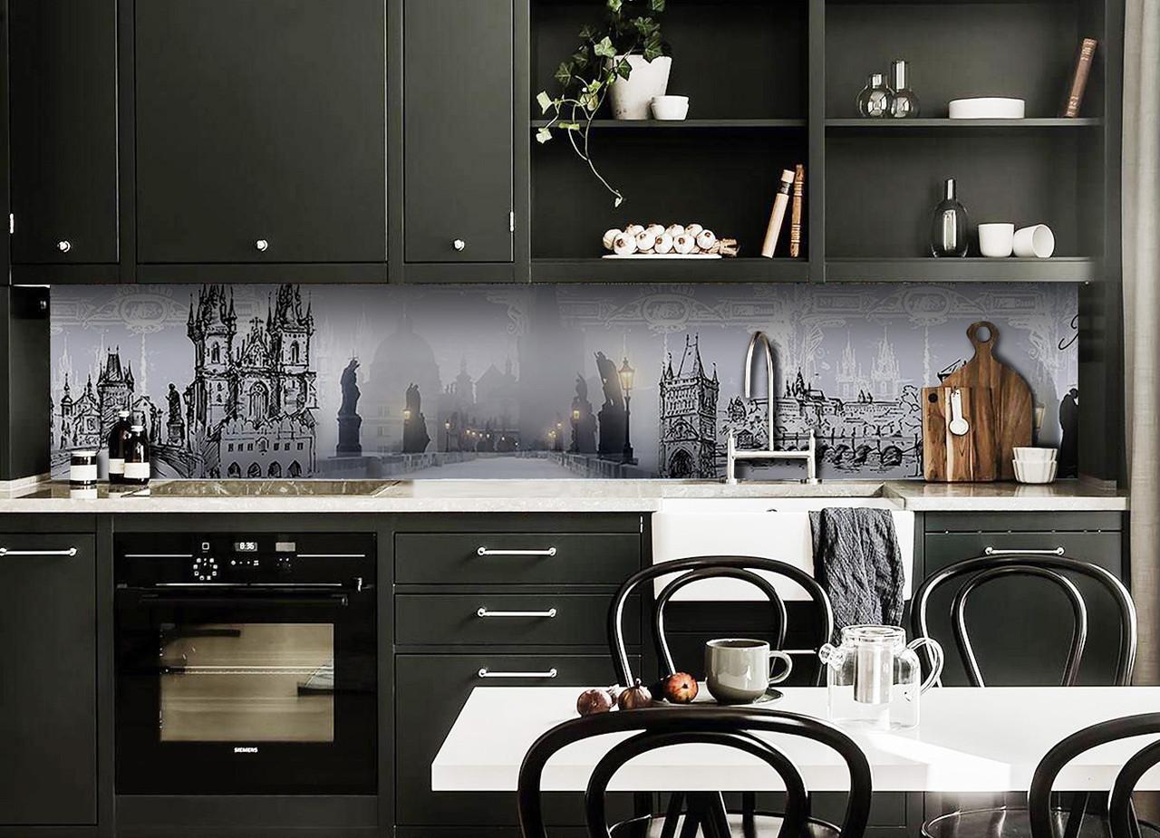 Виниловый кухонный фартук Туманная Прага (декоративная пленка наклейка скинали ПВХ) замок мост Серый 600*2500 мм