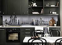 Виниловый кухонный фартук Туманная Прага (декоративная пленка наклейка скинали ПВХ) замок мост Серый 600*2500 мм, фото 1