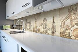 Вініловий кухонний фартух Старий Лондон декоративна плівка скіналі ПВХ Англія Тауерський міст ретро Бежевий