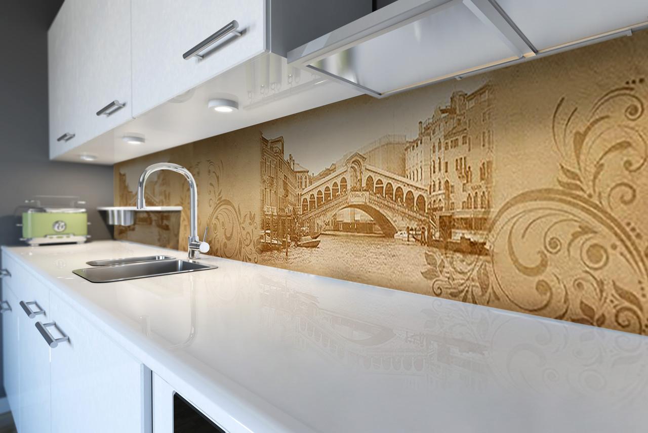 Виниловый кухонный фартук Гранд Канал (декоративная пленка наклейка скинали ПВХ) Венеция Узоры винтаж Бежевый 600*2500 мм