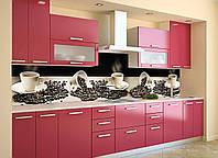 Виниловый кухонный фартук Горячий Кофе (декоративная пленка наклейка скинали ПВХ) чашки зерна Бежевый 600*2500 мм, фото 1