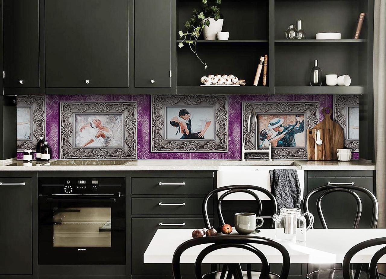 Виниловый кухонный фартук Танец (декоративная пленка наклейка скинали ПВХ) картины рисунок рамки Фиолетовый 600*2500 мм