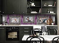 Виниловый кухонный фартук Танец (декоративная пленка наклейка скинали ПВХ) картины рисунок рамки Фиолетовый 600*2500 мм, фото 1