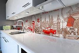 Вініловий кухонний фартух Яскрава Італія декоративна плівка наклейка скіналі ПВХ символи подорожі Бежевий