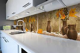 Вініловий кухонний фартух Лілії в глечиках декоративна плівка наклейка скіналі ПВХ квіти натюрморт Золотий