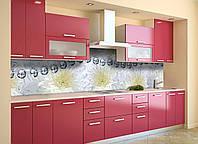Виниловый кухонный фартук Серебряные бусы (декоративная пленка наклейка скинали ПВХ) цветы хризантемы Серый 600*2500 мм, фото 1