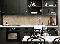 Виниловый кухонный фартук Кружево (декоративная пленка наклейка скинали ПВХ) жемчуг винтаж абстракция Бежевый 600*2500 мм, фото 1