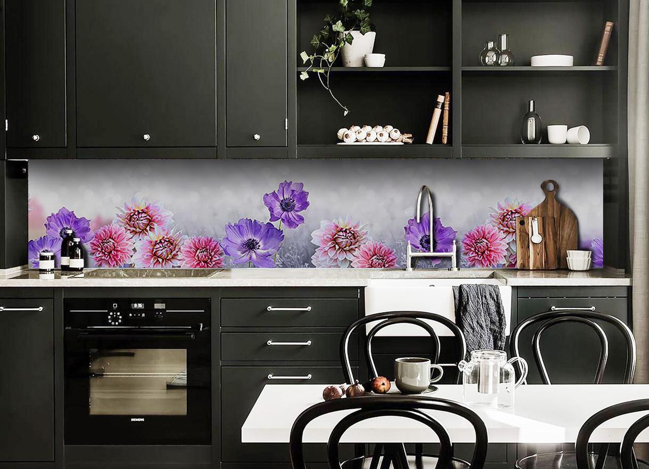 Виниловый кухонный фартук Васильки и Георгины декоративная пленка наклейка скинали ПВХ цветы Фиолетовый