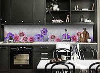 Виниловый кухонный фартук Васильки и Георгины декоративная пленка наклейка скинали ПВХ цветы Фиолетовый, фото 1