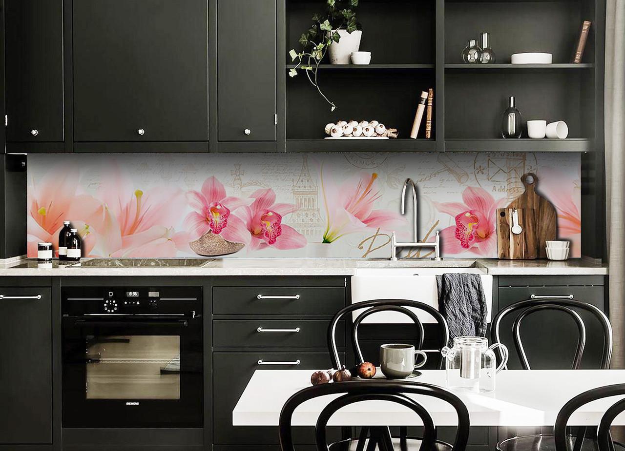 Виниловый кухонный фартук Орхидеи Крупные декоративная пленка наклейка скинали ПВХ розовые цветы город