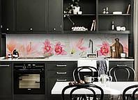 Виниловый кухонный фартук Орхидеи Крупные декоративная пленка наклейка скинали ПВХ розовые цветы город, фото 1