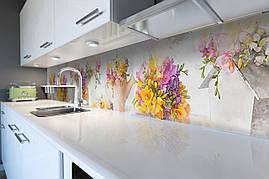 Виниловый кухонный фартук Желтый букет декоративная пленка наклейка скинали ПВХ крокусы цветы Бежевый 600*2500