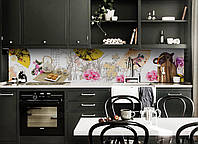 Виниловый кухонный фартук Желтый веер (декоративная пленка наклейка скинали ПВХ) чай Китай Восток Белый 600*2500 мм, фото 1