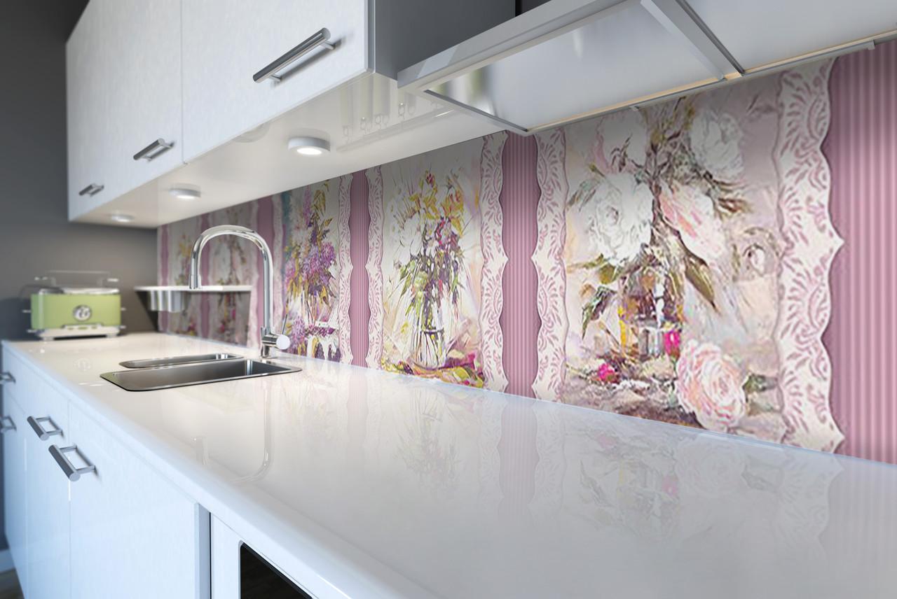 Виниловый кухонный фартук Розы Обои (декоративная пленка наклейка скинали ПВХ) букеты Цветы Розовый 600*2500 мм