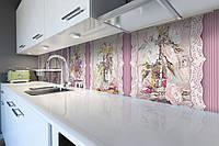 Виниловый кухонный фартук Розы Обои (декоративная пленка наклейка скинали ПВХ) букеты Цветы Розовый 600*2500 мм, фото 1