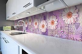 Виниловый кухонный фартук Розовые Герберы декоративная пленка наклейка скинали ПВХ Цветы Фиолетовый 600*2500