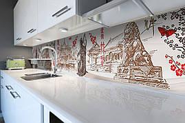 Вініловий кухонний фартух Японія Гейша декоративна плівка наклейка скіналі ПВХ намальований Схід Бежевий