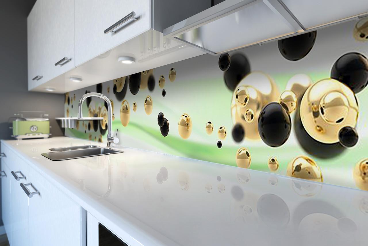 Виниловый кухонный фартук Жидкое золото (виниловая наклейка скинали ПВХ) сферы шары Абстракция Зеленый 600*2500 мм