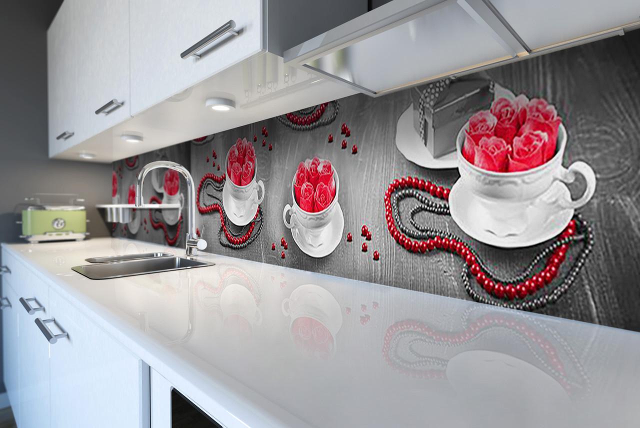 Виниловый кухонный фартук Розы и Чашки (декоративная пленка наклейка скинали ПВХ) фэшн Абстракция Серый 600*2500 мм