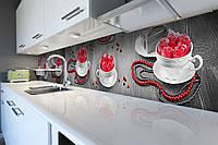 Виниловый кухонный фартук Розы и Чашки (декоративная пленка наклейка скинали ПВХ) фэшн Абстракция Серый 600*2500 мм, фото 1