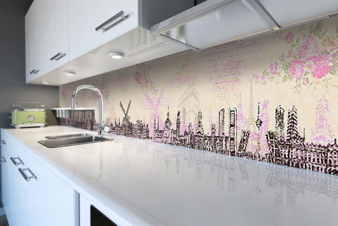 Виниловый кухонный фартук Голландия Ретро (декоративная пленка наклейка скинали ПВХ) нарисованный город Розовый 600*2500 мм