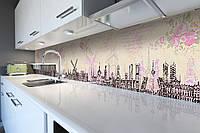 Виниловый кухонный фартук Голландия Ретро (декоративная пленка наклейка скинали ПВХ) нарисованный город Розовый 600*2500 мм, фото 1
