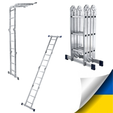 Шарнірна універсальна драбина трансформер чотирьохсекційна 3 на 4 ступені