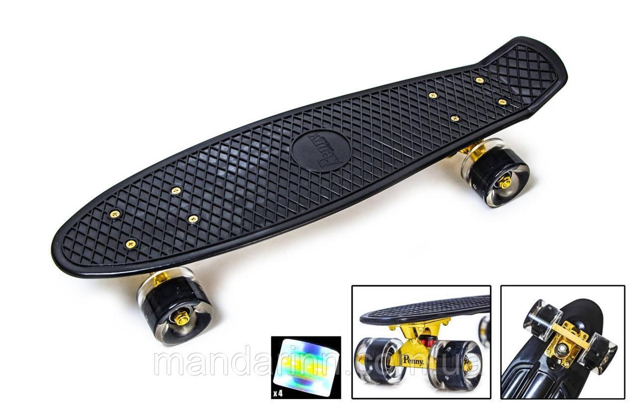 Penny Board Скейтборд ORIGINAL BLACK GOLD ПОДВЕСКА, СВЕТЯЩИЕСЯ КОЛЕСА