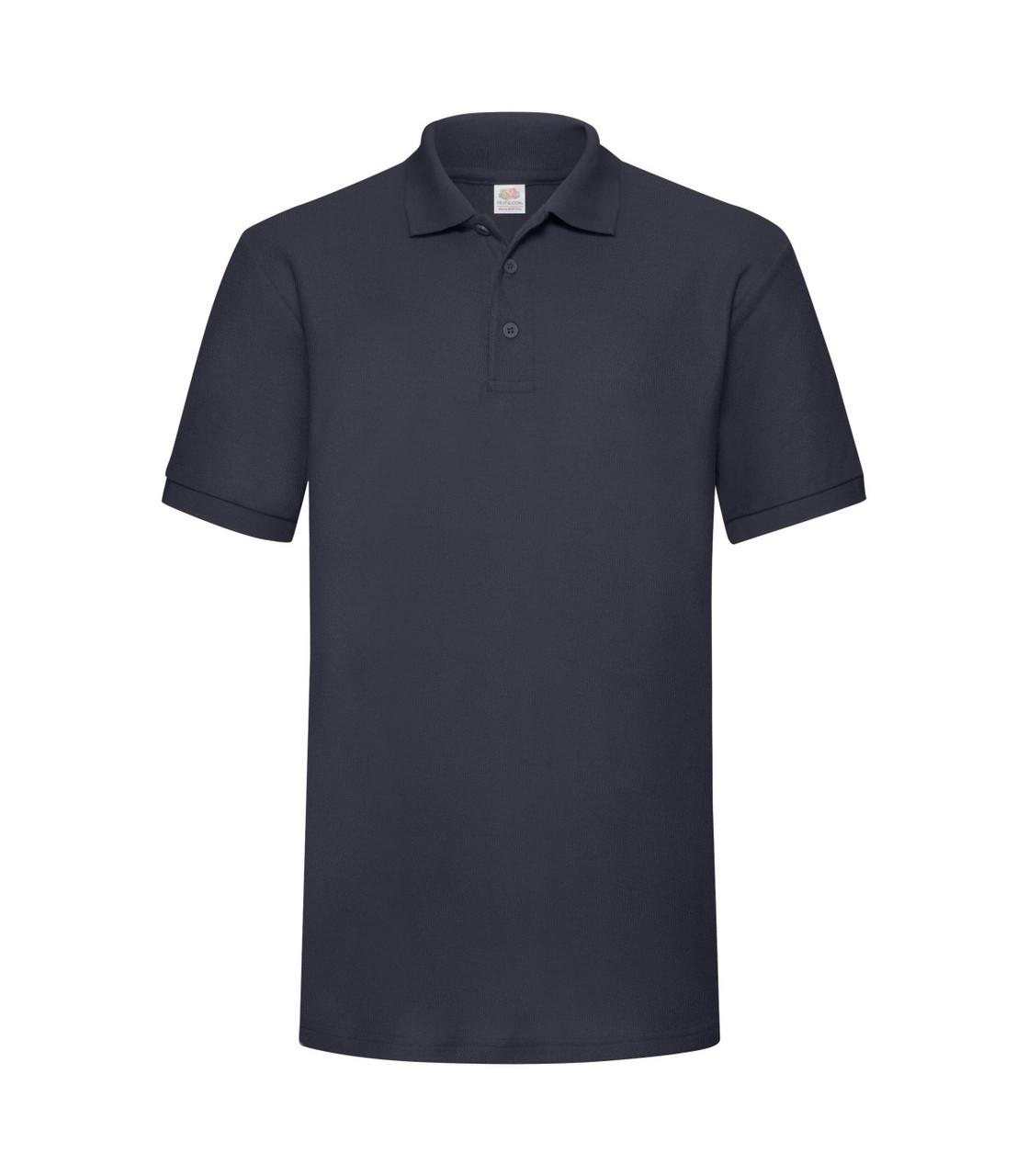 Мужская футболка поло плотная глубоко темно-синяя 204-АЗ
