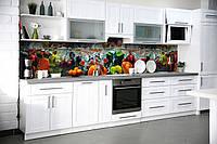 Кухонный фартук Овощи в воде (виниловая пленка наклейка скинали ПВХ) фрукты вода перец Оранжевый 600*2500 мм, фото 1