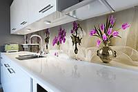 Кухонный фартук Тюльпаны и Сирень (виниловая наклейка скинали ПВХ) цветы в вазе вуаль Бежевый 600*2500 мм, фото 1