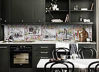 Кухонный фартук Рисунок карандашом (виниловая пленка наклейка скинали ПВХ) Люди город Зеленый 600*2500 мм, фото 1