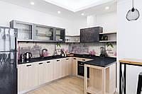 Кухонный фартук Весна в Париже (виниловая пленка наклейка скинали ПВХ) Эйфелева башня Сирень Серый 600*2500 мм, фото 1