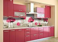 Кухонный фартук Букет розовых Роз (виниловая пленка наклейка скинали ПВХ) цветы Бежевый 600*2500 мм, фото 1