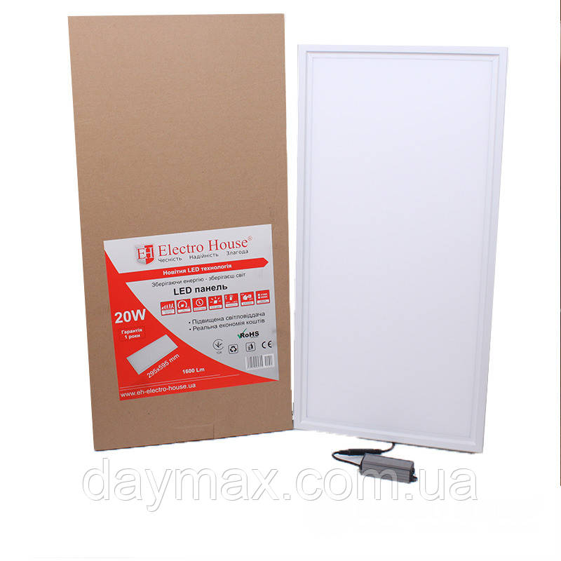 ElectroHouse LED панель прямокутна 20W 295х595 мм