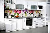 Кухонный фартук Яркие Цветы (виниловая пленка наклейка скинали ПВХ) букеты Розовый 600*2500 мм, фото 1