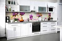 Кухонный фартук Цветочные Букеты (виниловая пленка наклейка скинали ПВХ) фиолетовые бутоны Бежевый 600*2500 мм, фото 1