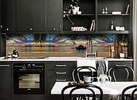 Кухонный фартук Рассвет на Острове (виниловая пленка наклейка скинали ПВХ) море пальмы Голубой 600*2500 мм, фото 1