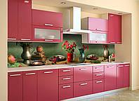 Кухонный фартук Натюрморт Ягоды и Розы (виниловая пленка наклейка скинали ПВХ) 600*2500 мм, фото 1