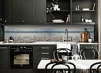 Кухонный фартук Заснеженные вершины (виниловая наклейка скинали ПВХ) Япония горы вишни Голубой 600*2500 мм, фото 1