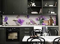 Кухонний фартух Фіолетова Птах (вінілова плівка наклейка скіналі ПВХ) квіти метелики букети 600*2500мм, фото 1