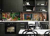 Кухонный фартук Шикарный Прованс (виниловая наклейка скинали ПВХ) каменные улицы цветы Коричневый 600*2500 мм, фото 1