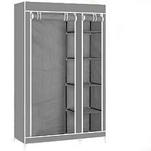 Портативный тканевый шкаф-органайзер для одежды на 2 секции - серый, Складные тканевые шкафы